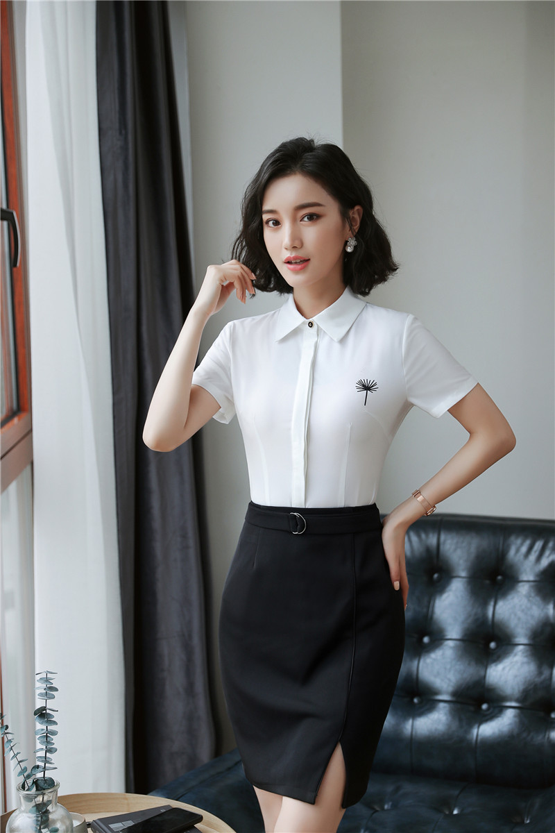 Formal OL Styles 2 Piece With Tops And Skirt Office Ladies Work Wear 2018 Summer Outfits Blouses & Shirts Skirt Sets Plus Size