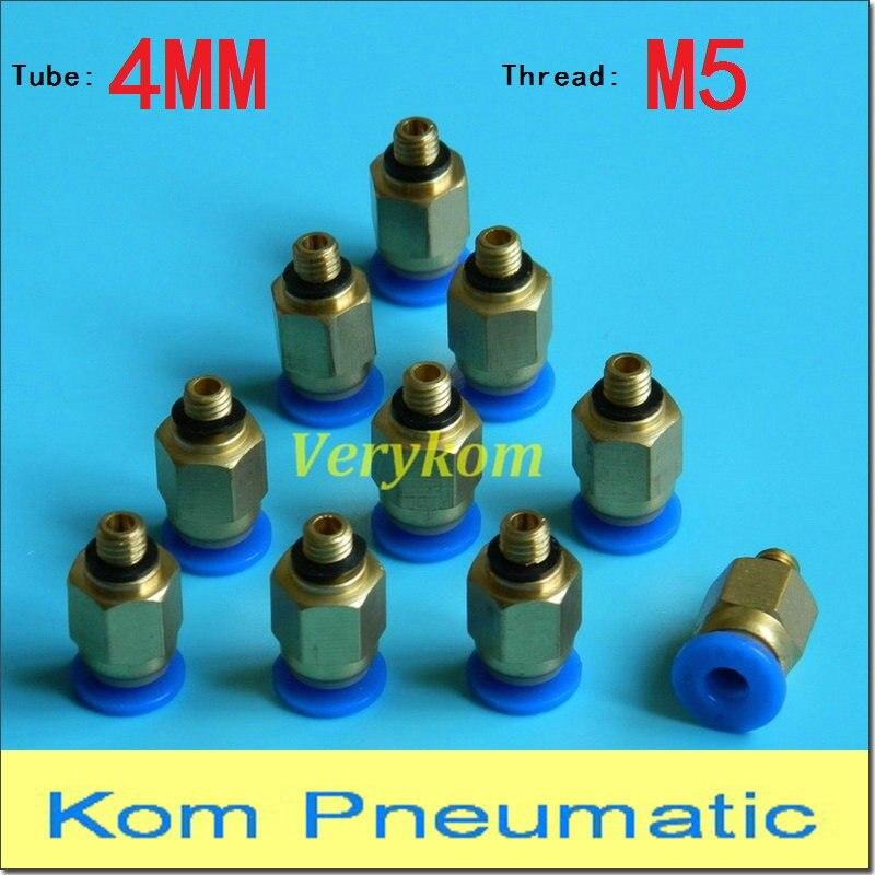 10 Teile/los Male Pneumatische 4mm Rohr Push In M5 Schnell Verbinden Air Fitting Pc 4-m5 One Touch Rohrverbinder Pc 04-m5