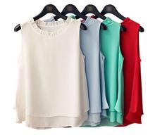 Plus Size 4XL 2016 Summer New Women Sleeveless Loose Ruffle Shirt Chiffon Blouses Tops Solid Casual Loose Feminine Blouses