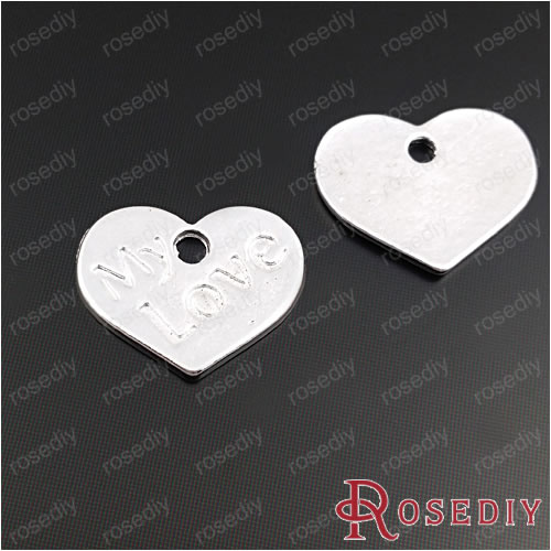 Wholesale 17*13mm Silver color Heart with word My Love Alloy Charms Pendants Diy Jewelry Findings Accessories 30 pieces(JM6813)