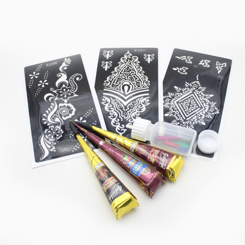 3pcs Black Brown Red Colored Henna Tattoo Paste Cream Cone,Henna Tattoo Stencil Template, Henna JAC Bottle Applicator Nozzle Kit