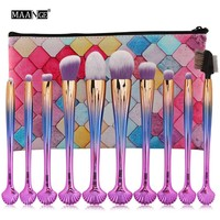 10Pcs Makeup Brush Shell Shape Professional Cosmetic Foundation Eyeshadow Blush Eye Brushes Set