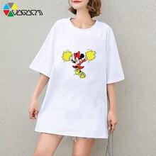 Plus Size Women Minnie Mickey Mouse Print Fashion Loose Short Sleeve Tops Cute Cotton Black Cheer Team T-shirt