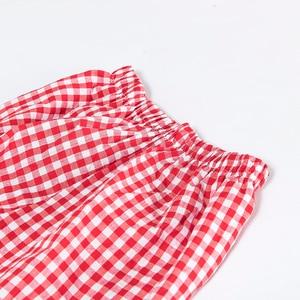 Image 5 - جديد 2019 ملابس نوم نسائية منقوشة أصفر أحمر أسود 2 قطعة مجموعة طويلة الأكمام بلوزات + بنطلون مرونة الخصر تحدها بيجامات S7N102