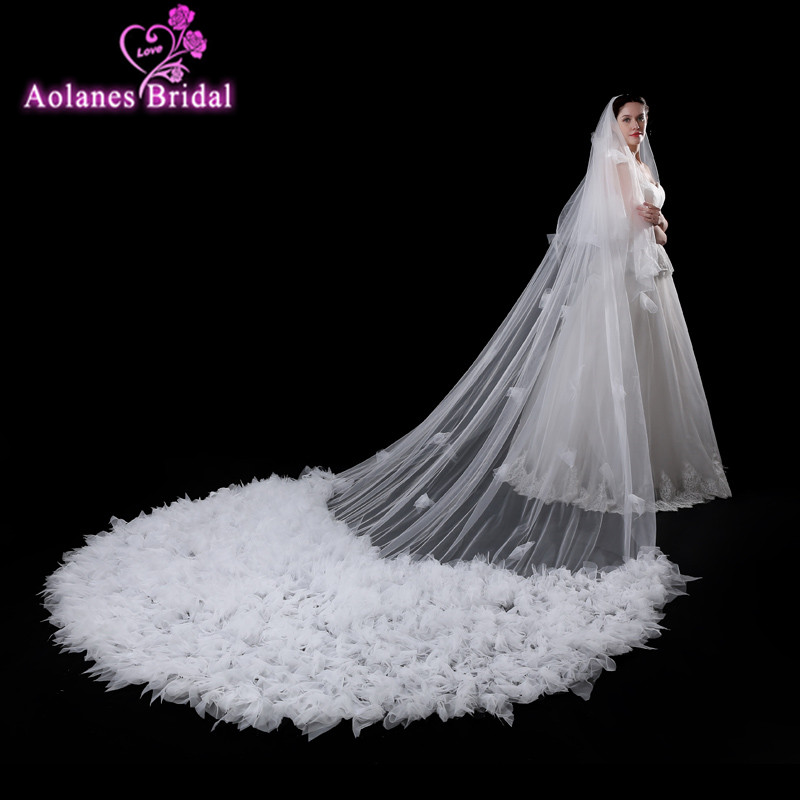 AOLANES 2018 Wedding Veil 4 Meters Length Real Image 3D Flowers Long Cathedral Bridal Veils Wedding Accessories veu de noiva