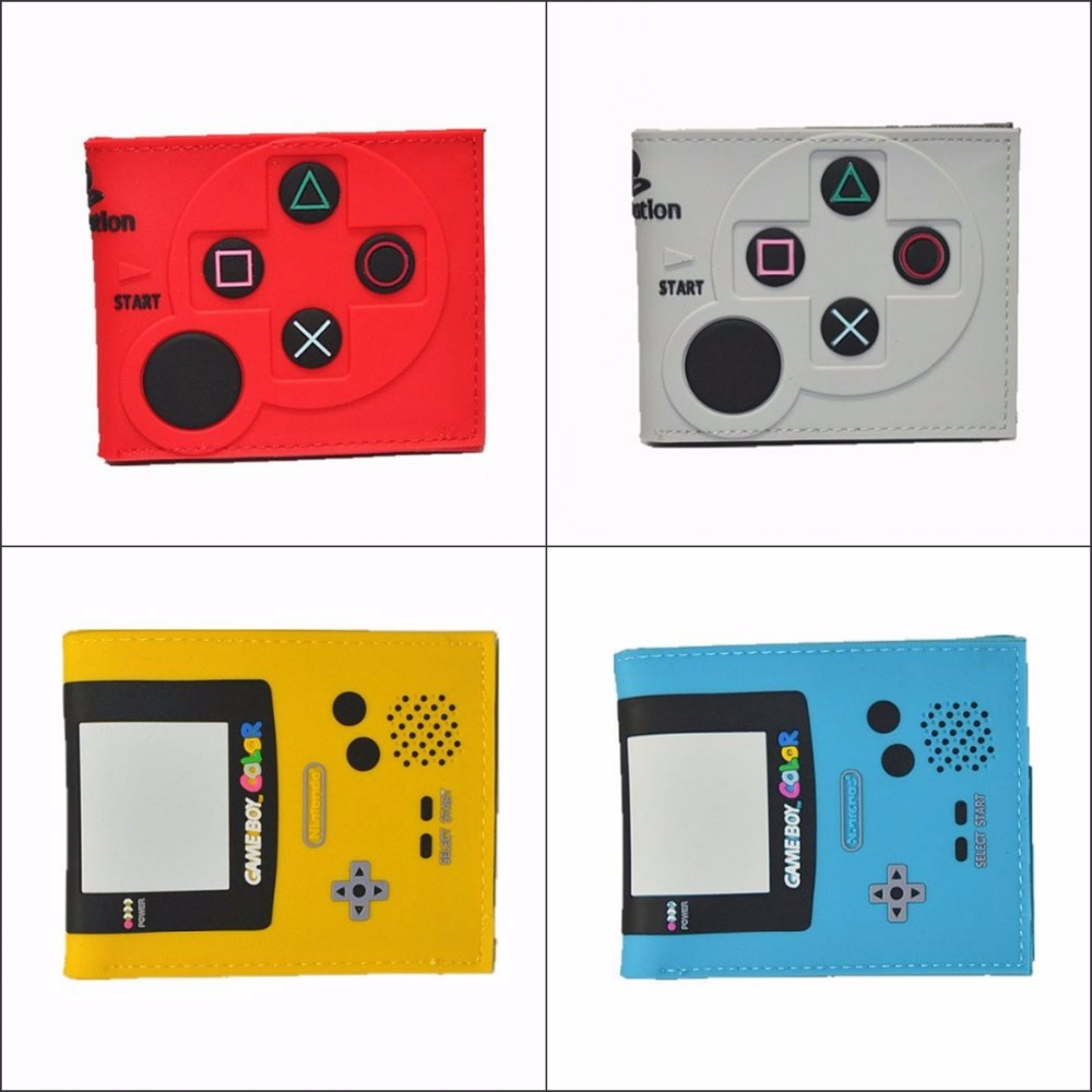 Game cartoon wallet playstation handle cardholder console The controller cosplay short wallet boy girl cool gift 12 style playstation console shaped bifold pu wallet playstation dft 1250a