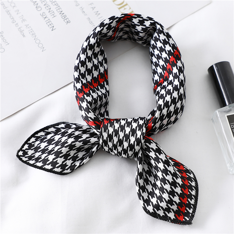 New Square Scarf  Women Hair Tie Band For Business Party Elegant Small Vintage Skinny Retro Head Neck Silk Satin Scarf 50X50cm