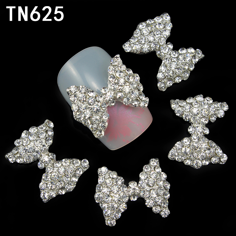 Blueness 10Pcs Alloy Glitter 3D Nail Bows Art Decorations Rhinestones ,Alloy Nail Charms,Jewelry on Nails Salon Supplies TN625