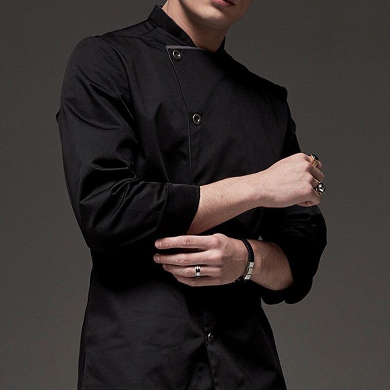 Black White Long Sleeve Chef Shirt D74-4