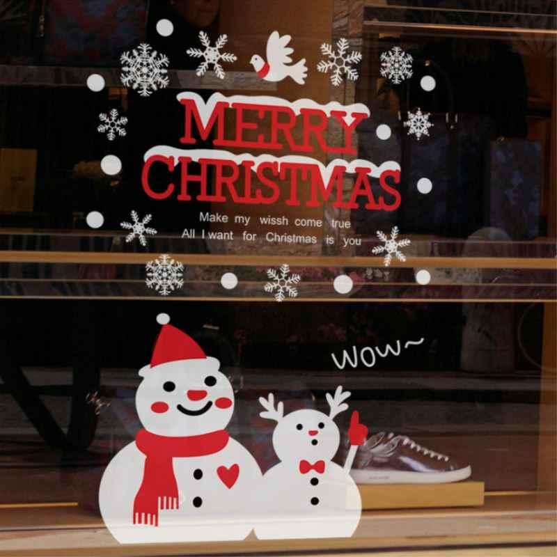 2018 חדש קיר נייר החג שמח קיר אמנות נשלף שלג בית חלון חג המולד קיר מדבקות מדבקות