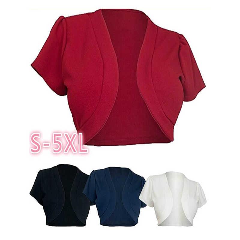 5XL Phụ Nữ Ngắn Tay Áo Cắt Áo Khoác Ngắn Bolero Nhún Nhún Vai Rắn Mở Stitch Ladies Slim Áo Khoác Áo Khoác