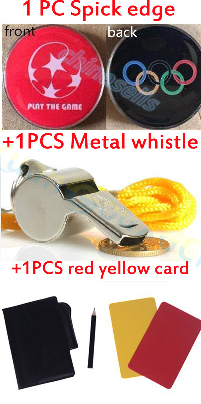 Soccer Football Pick Edge Finder Coin Toss Referee Side Coin Judge Flipping Professional Soccer Match Red Yellow Card Metal Whis