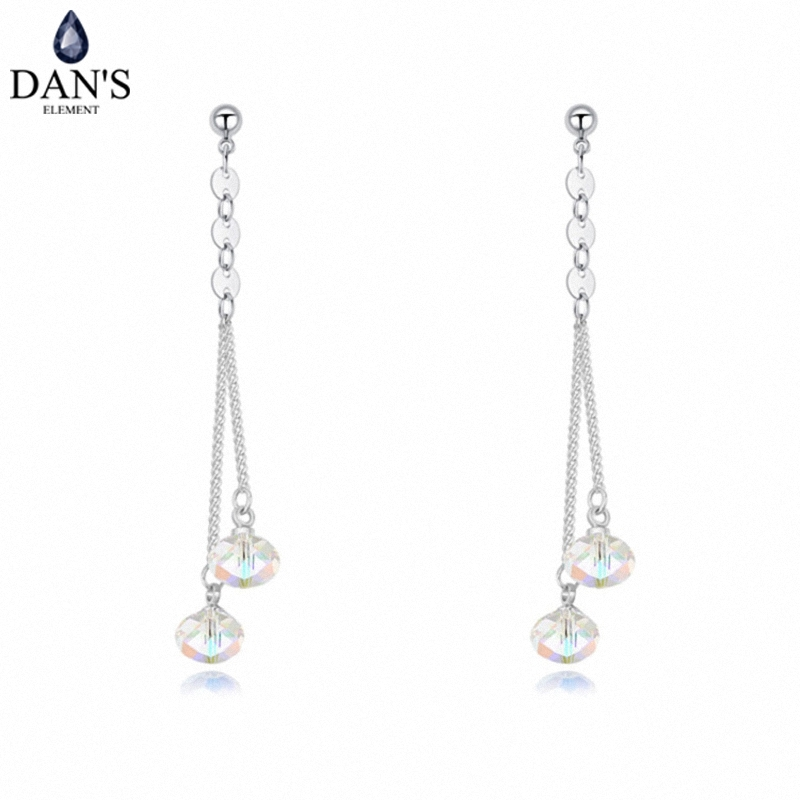 DAN'S Element Brand White Gold Color Austrian Crystals Water Drop Earrings for Women Valentine Gift New Fashion 126429