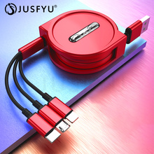 3 in 1 Micro USB Type C 8 Pin USB Cable for iPhone XS 8 7 Cross Design Retractable 1.2m 3A USB Data Sync Cable for Xiaomi Huawei 3 in 1 type c micro usb 8 pin cable