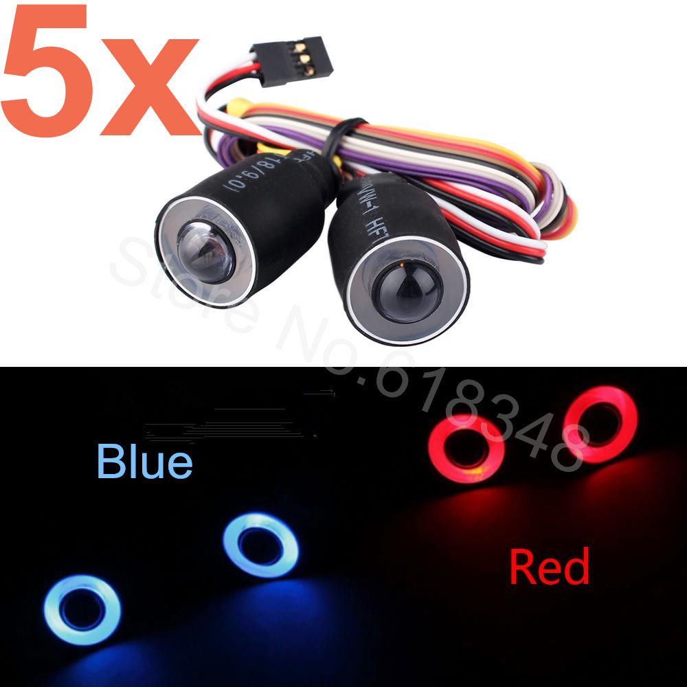 5Pcs/Lot LED Headlight Lights Headlamps Angel Eyes & Demon Red/Blue for 3ch 1/10 Radio Control RC Car Body Shell Parts