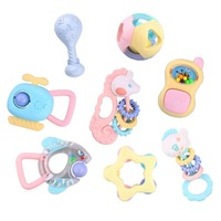 Baby Teethers Plastic Silicone Set Animal Pattern Baby Ring Teether Chew Charms Baby Teething Gifts Toddler Toys