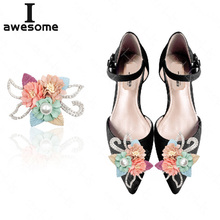 Rhinestone Flowers Bridal Wedding Party Shoes Accessories High Heels Shoes DIY Manual Pearl boots Shoe Decorations Shoe flower royal blue rhinestone bridal dress shoes super high heel wedding party prom shoes blue crystal christmas party pumps women shoes