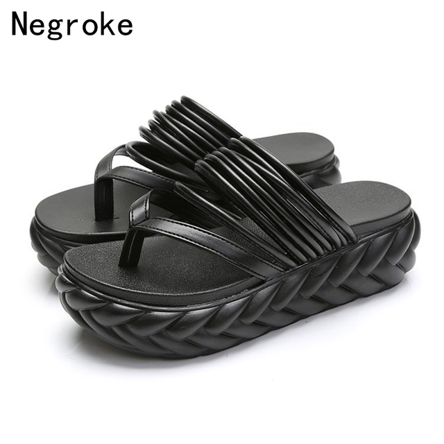 afd95a707ae3a3 Summer Beach Wedge Sandals Women Two USES Thick Sole Slippers Woman Slip On Flip  Flops Black White Slides Ladies Platform Shoes
