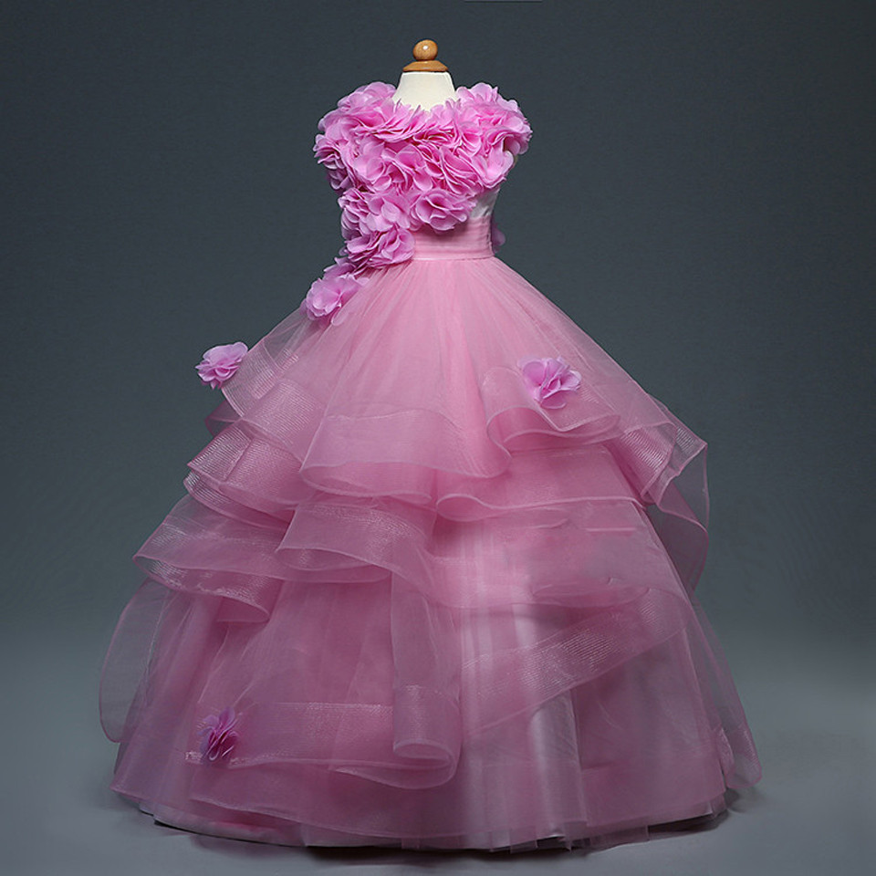 Fuchsia 2019   Flower     Girl     Dresses   For Weddings Ball Gown Cap Sleeves Organza Baby Long First Communion   Dresses   For Little   Girls