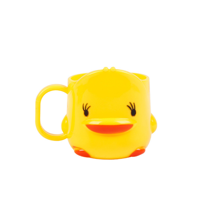 250ml small yellow duck children's water cup plastic with handle thickening cartoon reusable bright color juice drink cup home