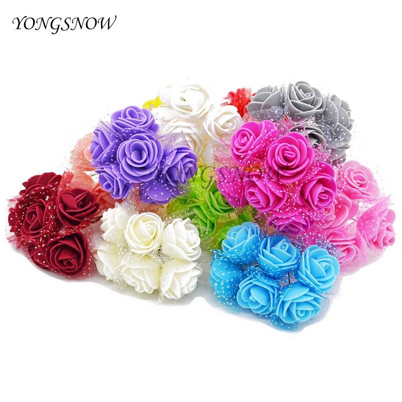 12 unids/lote 3.5 cm diámetro espuma pe rosa artificial guirnaldas de flores de