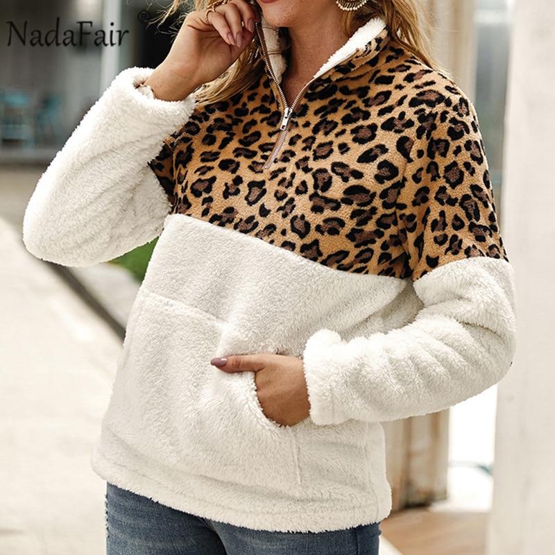 Nadafair Leopard Patchwork Plus Size Fluffy Sweatshirt Women Zip Fleece Casual Oversized Hoodie Winter Pullover Hoody Ladies