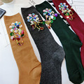 Las mujeres de Color Natural Japonés de Algodón Peinado Calcetines de La Vendimia Flor Gema Del Color Femenino Del Caramelo Calcetines Oficina Vestido Larga de Las Señoras Calcetines