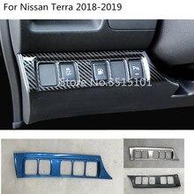 Car body styling Stainless steel cover front fog light switch inner Trim frame lamp panel 1pcs For Nissan Terra 2018 2019