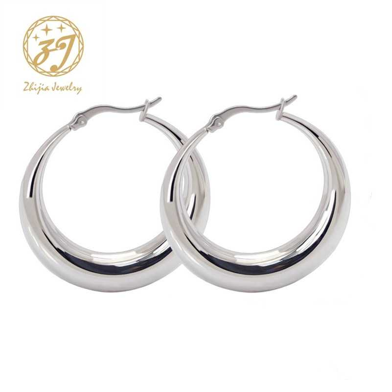 a13101145 Zhijia Stainless Steel Jewelry Earring Thick Casual Simple Round Small Silver  Hoop Earrings For Women Free