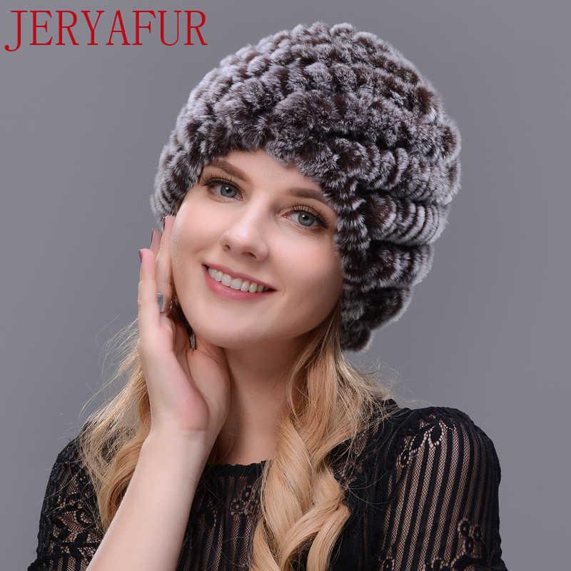 JERYAFUR Homem mulher chapéu de pele real chifre artesanal de pele de coelho pele de uma malha chapéu do inverno feminino cap cap chapéu de esqui frete grátis