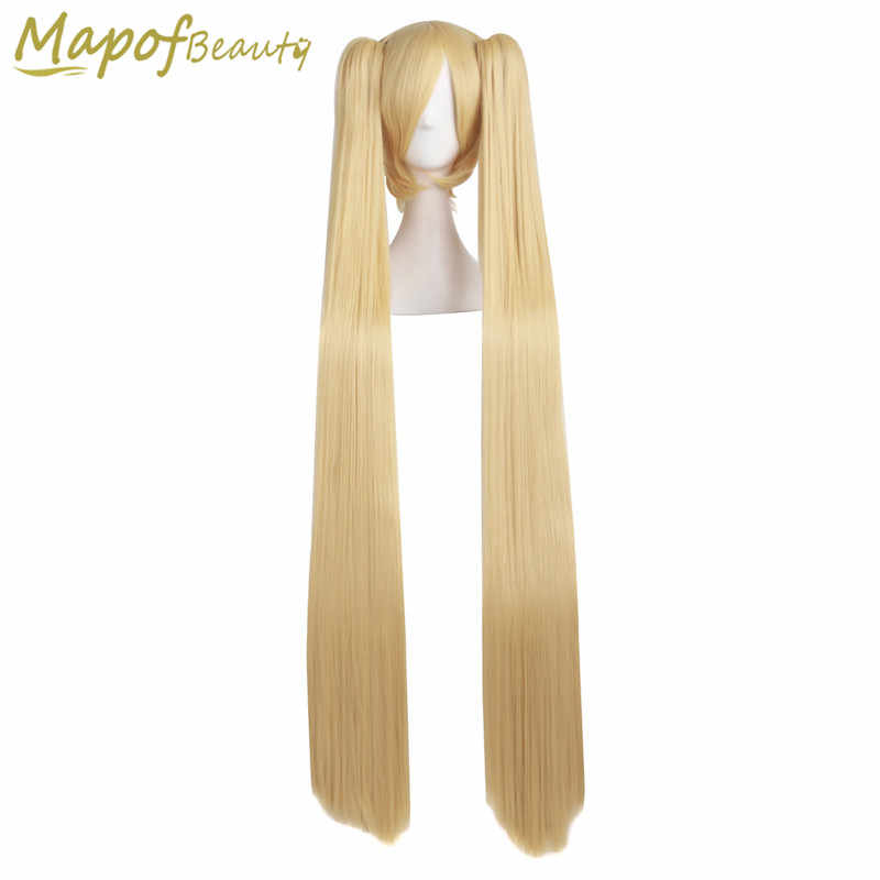 MapofBeauty 120cm Vocaloid Miku Akita neru Gold Two Ponytails Party Costume Cosplay Wigs Heat Resistant Wig Synthetic Hair
