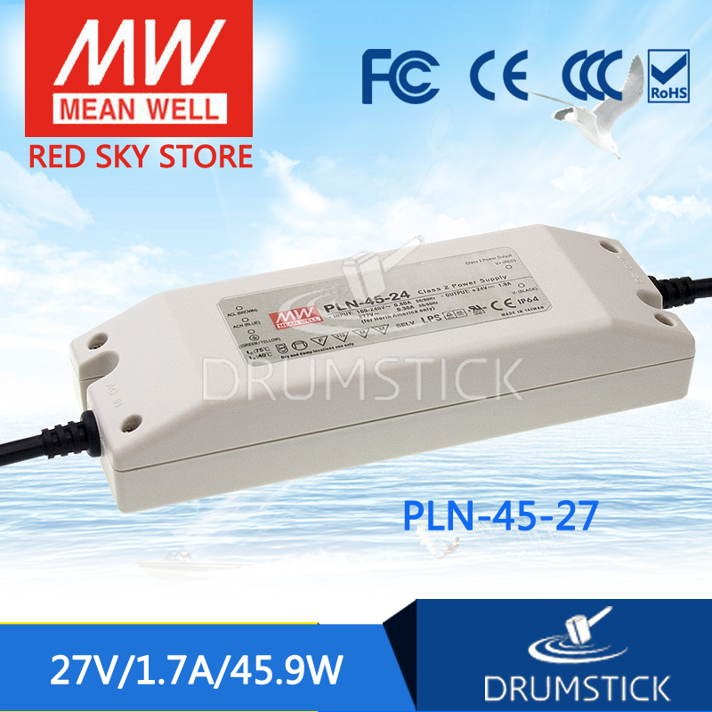 Hot! MEAN WELL PLN-45-27 27V 1.7A meanwell PLN-45 27V 45.9W Single Output LED Power Supply [cheneng]mean well original pln 100 27 27v 3 55a meanwell pln 100 27v 95 85w single output switching power supply