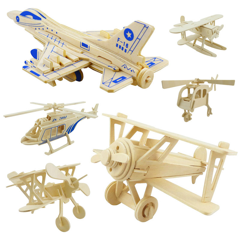 3D Mini Airplane Simulation  Wooden Puzzle 3D Stereo Puzzle Children Educational Toys DIY  Children Jigsaw Kids Toys