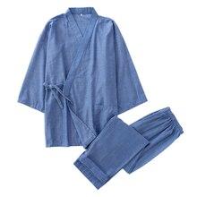 Горячая Распродажа, хлопок, кимоно, мужской халат, пижамный комплект, простой, короткий рукав, японский халат, брюки для мужчин, hombre, пижамы, халаты