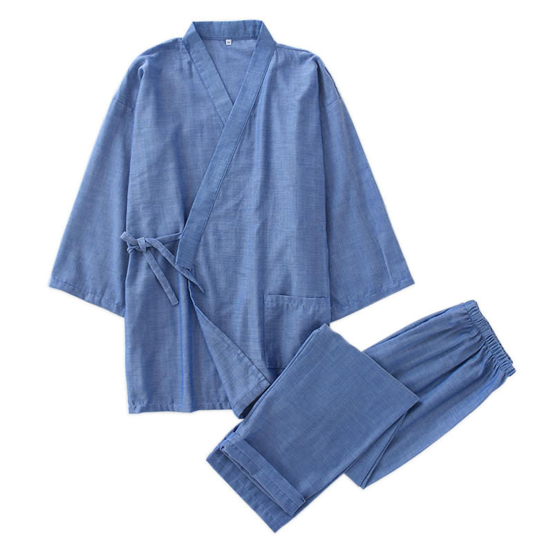 Hot Sale 100% Cotton Kimono Men Robe Pajamas Sets Simple Short Sleeve Japanese Robe Trousers For Male Plus Size XL Pyjamas Robes