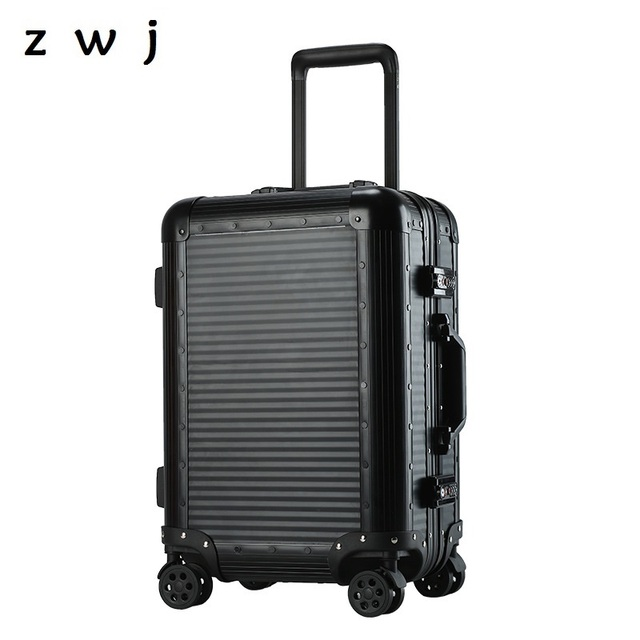 100 Aluminum Luggage Metal Spinner Hand Rolling 20 Suitcase On Wheels