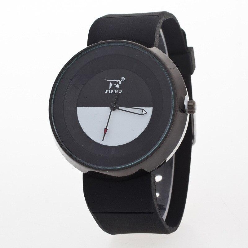 2018 New Trendy Black White Wrist Watch For Women Men Creative Girl Boy Quartz Clock Lovers Silicone Women's Watch Dropshipping white black new