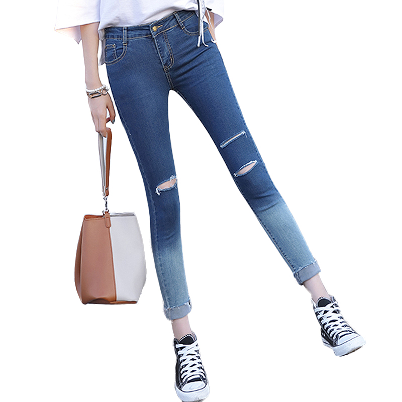 Korean style High Waist Jeans for Women Skinny Fashion Boyfriend Hole Slim Ripped Denim Pencil Pants high quality jeans mujer 2017 new fashion pencil pants hole jeans woman skinny ripped jeans for women vaqueros mujer boyfriend jean denim pants pantalon