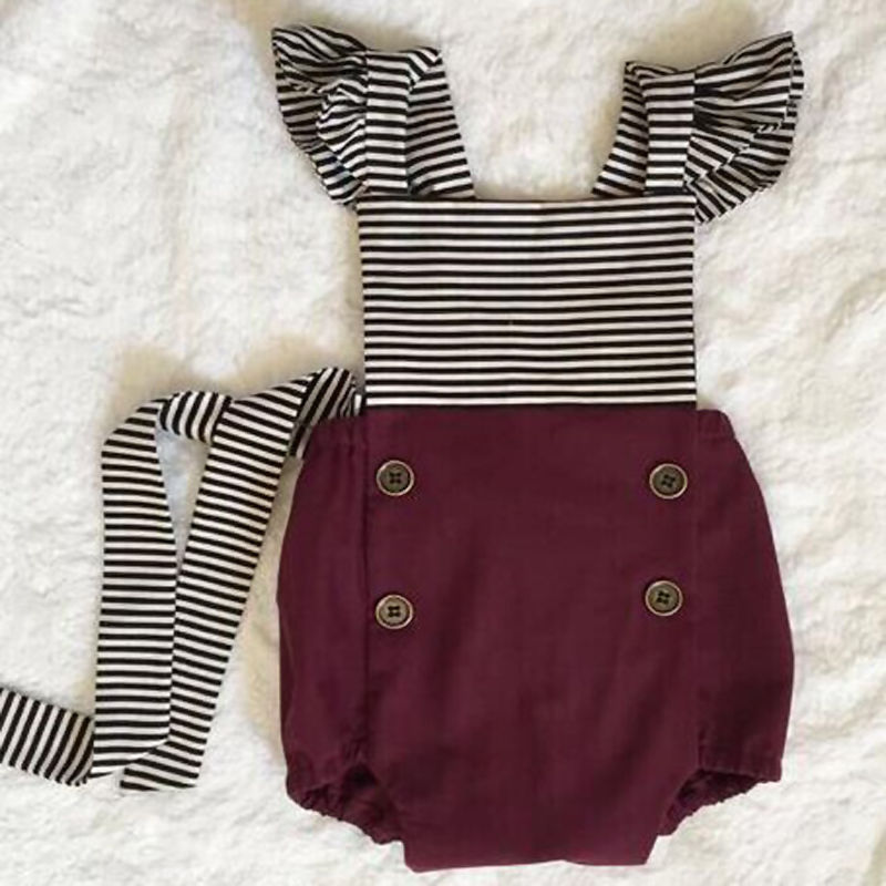 b5234552612c Striped Bebe Girls Clothing Newborn Toddler Baby Girl Clothes Bodysuit +  Headband Sunsuit Outfits Set Jumpsuit for baby kids-in Bodysuits from  Mother   Kids ...