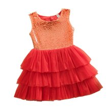 Baby Dress Newborn Summer Layered Tutu Dressed Kids Sleeveless Back Hole Bows Sequined Dresses Children Clothing