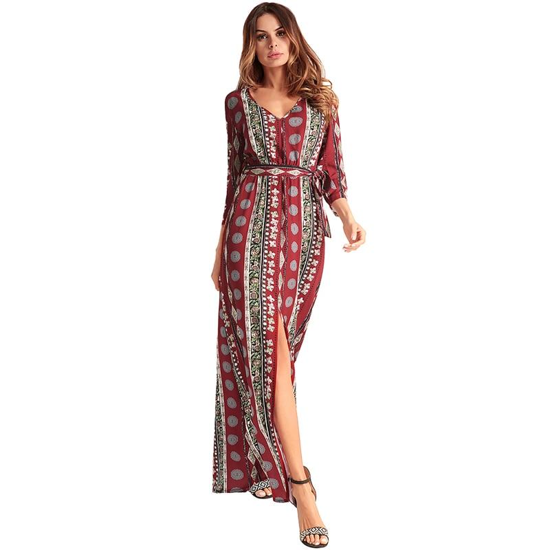 65fb4913d72 Robe Soie V Col Mousseline Maxi Lady Split Longue Vêtements Plage Red De  Robes Imprimer Femmes ...