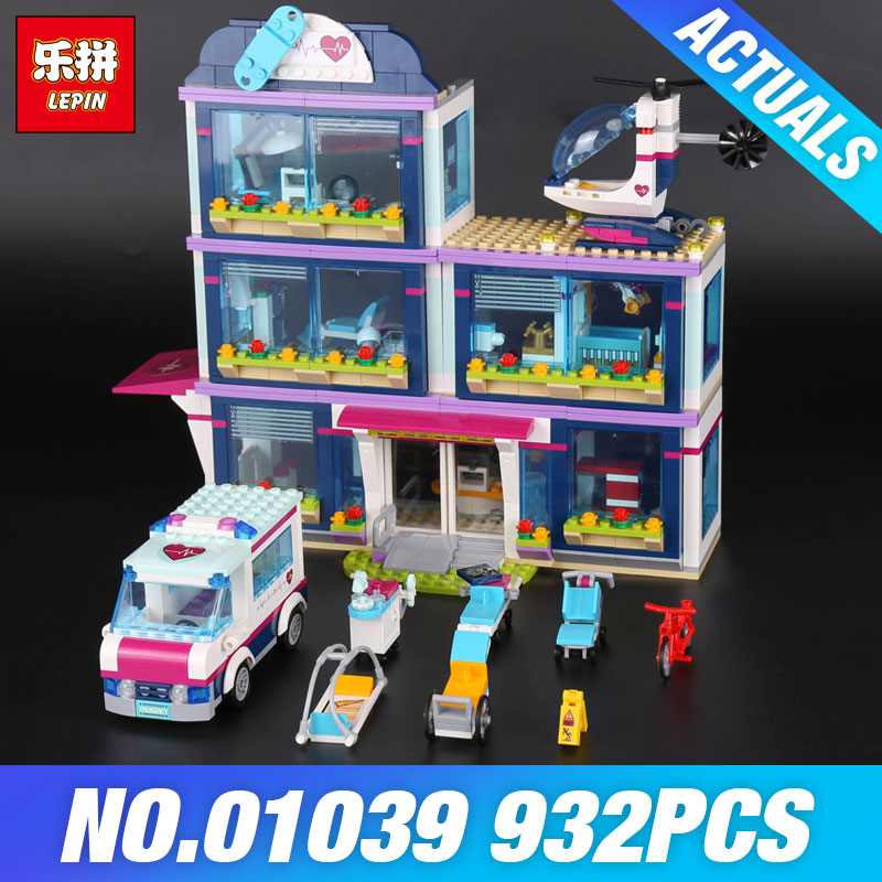Lepin 01039 Genuine The Heartlake Hospital Set DIY Girl Series 41318 Building Blocks Self Locking Bricks boys Educational Toys lepin 01039 friends girl series building blocks toys heartlake hospital kids bricks toy girl gifts compatible with legoing 41318