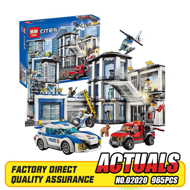 Lepin 02020 965Pcs City Series The New Police Station Set Children Educational Building Blocks Bricks Boy Toys Model Gift 6014 lepin 02012 city deepwater exploration vessel 60095 building blocks policeman toys children compatible with lego gift kid sets