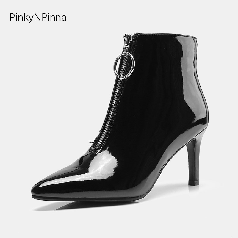 women ankle motorcycle boots patent leather stiletto pointed toe front zipper flock solid suede high top booties modern outdoor