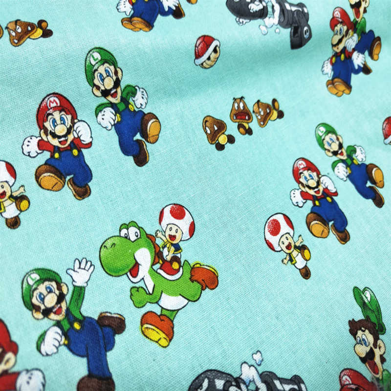 Beautiful Cotton Fabric for Dress Super Mario Print Cotton Fabric Sewing Material Patchwork DIY Baby Skirt/Clothing 110cm wide