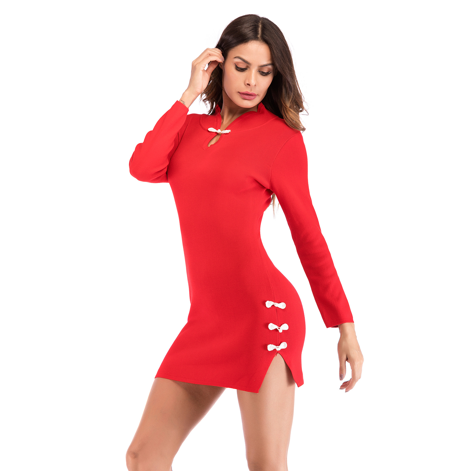e7067d3579 ... Winter Chinese Style Qipao Sexy Cheongsam Clasp Split Knit Mini Dress  for Women Lady Club Party ...