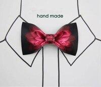 Vintage Diseño Pajaritas con Pañuelo de Moda Elegante Estampado de Flores Rojo Mariposa Hombres Wdding Pajaritas Para Adultos Cajas Gratis