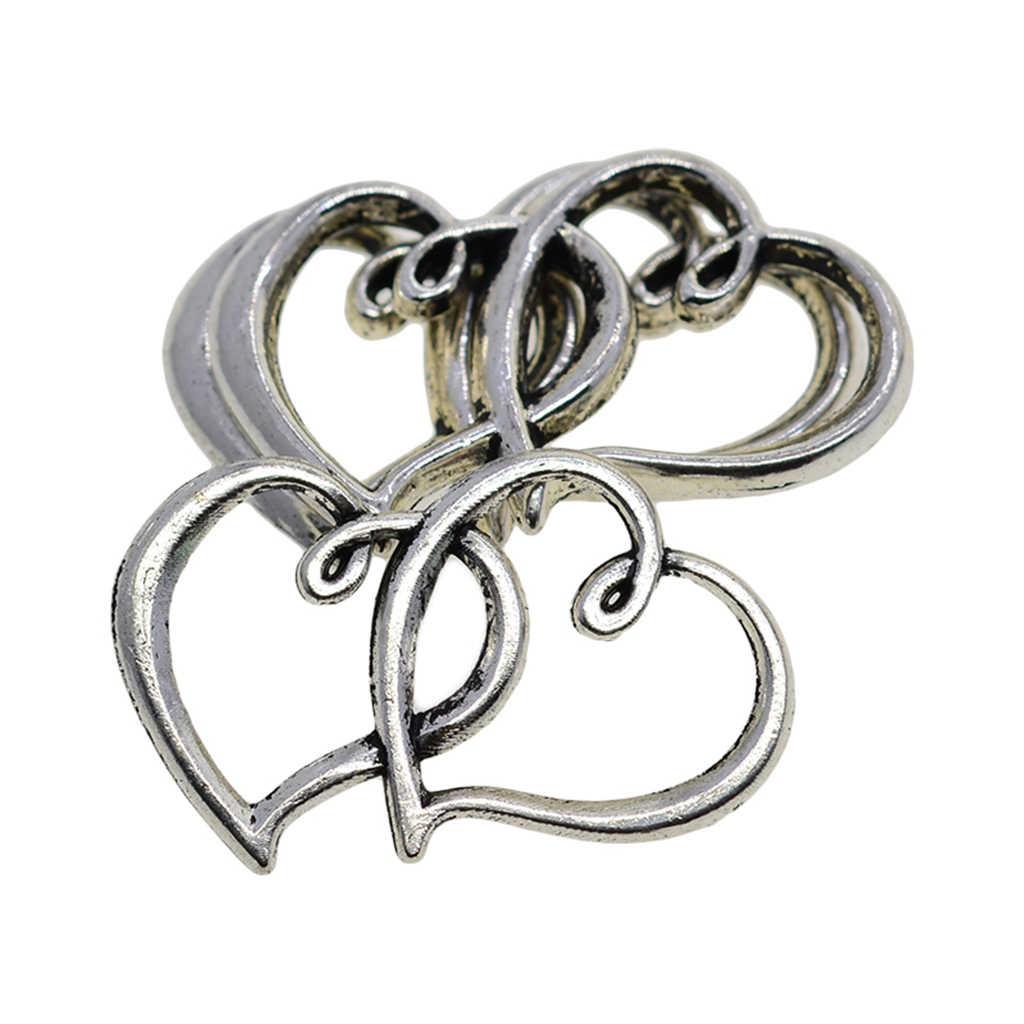 20 piezas de plata hueco colgante de amuletos de corazón conector encantos para DIY joyería venta al por mayor Fabricación de pulseras y collares
