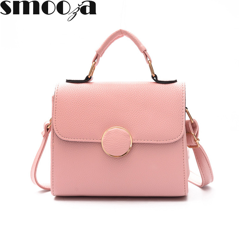 f2ef9e69f5d SMOOZA Women Bag pretty Handbag PU Leather Women's Shoulder Crossbody Bags  cute Ladies Small Handbags Purse Bag Bolso Pink Black
