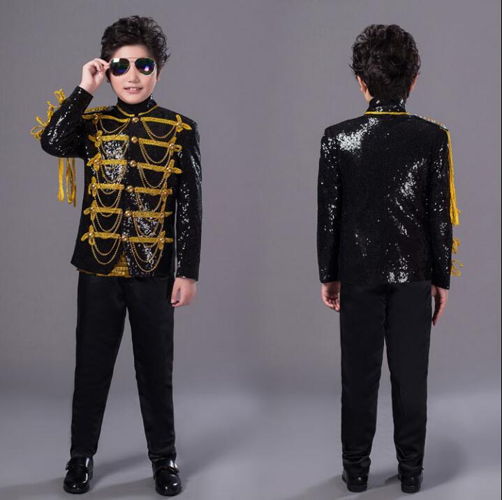 Black Child Mens Suits Designs Masculino Homme Stage Children's Day Singers Men Sequin Blazer Dance Jacket Star Style England